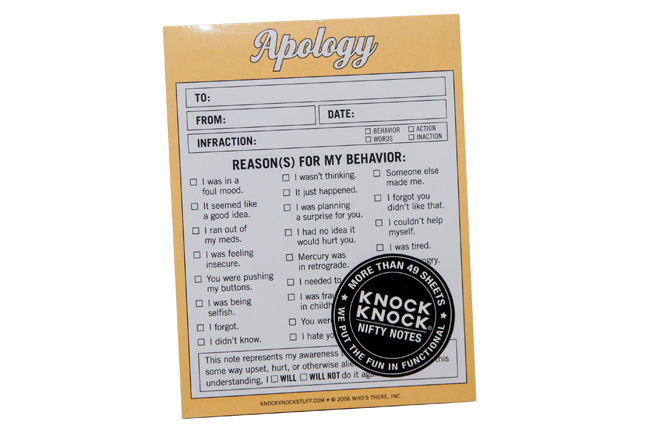Knock Knock Nifty Notes (Apology)