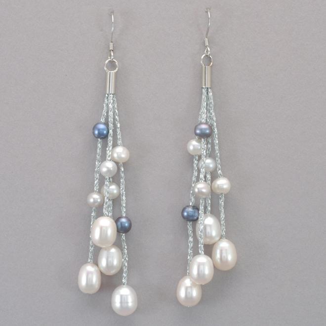 Valdora Pearl and Silver Silk Thread Earrings