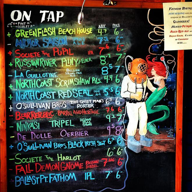 Beer list at Fathom Bistro Bait  Tackle