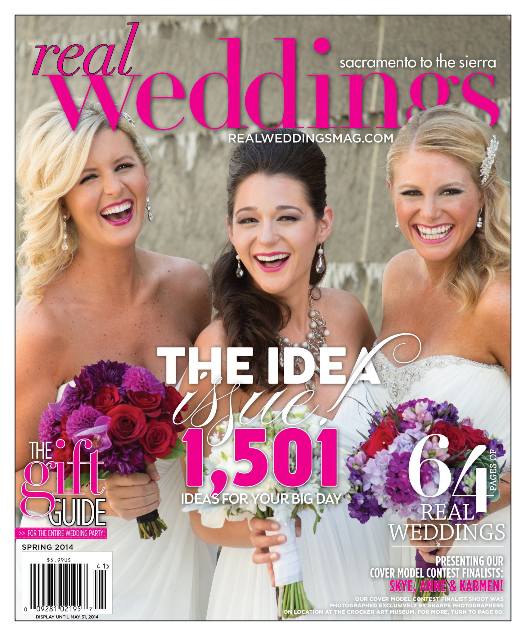 Real Weddings Magazine Winter/Spring 2014 Cover shot at the Crocker Art Museum by Sharpe Photographers, now know as The Red Sneaker Studio