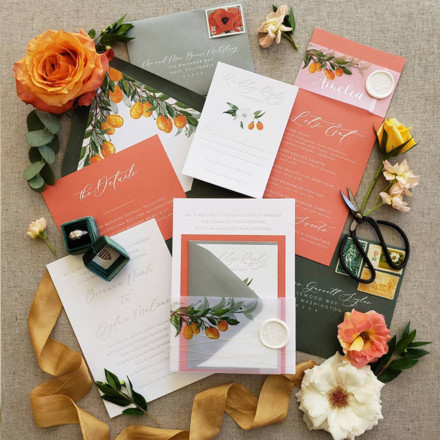 Little Bird Paper Company Bespoke Invitation-Letter Press-Flat Lay-Sacramento-Wedding Paperie
